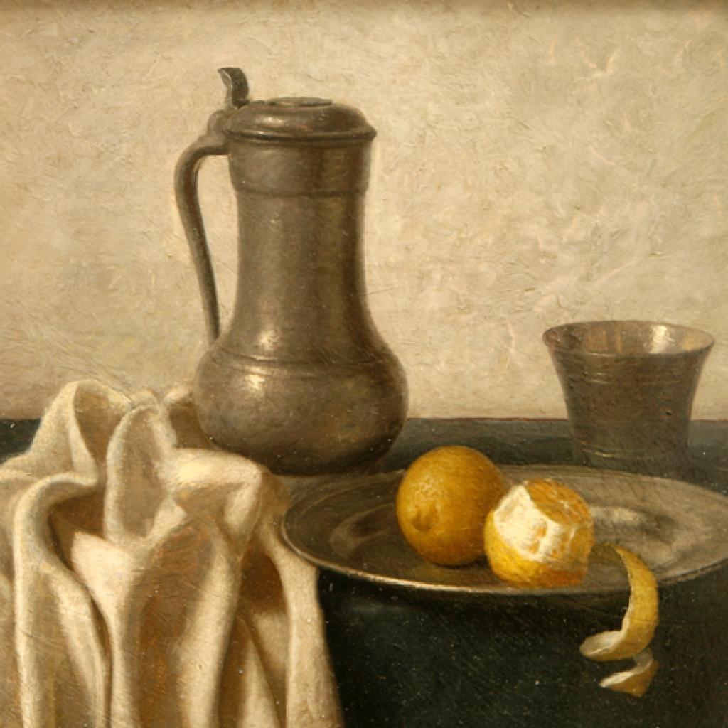 stilleven-tinnen-schaal-en-kan-met-citroenen
